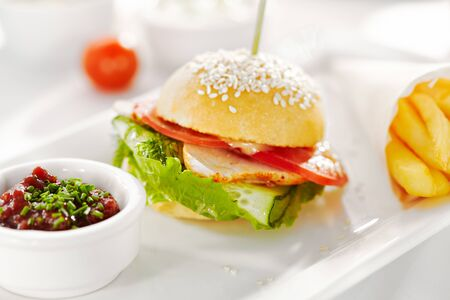 Gourmet, restaurant, delicious dinner food - close up of Sandwich with Smoked Meat, Tomato and Cucumber. Garnished with French Fries and Vegetables Sauce Banco de Imagens