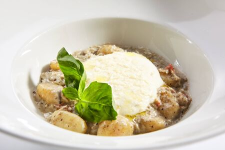 Gnocchi in mushroom sauce with cheese espuma. Molecular cuisine restaurant menu item.