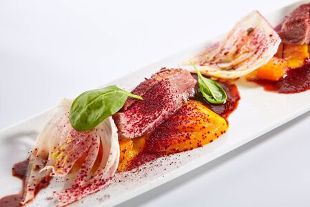 Duck breast with roasted plum dish closeup. Baked meat slices and glazed rheum isolated on white background. Roasted food. Gourmet meal garnished with herbs leaves on plate composition