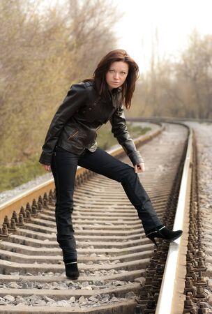 a girl near the railroad Stock Photo - 8591294