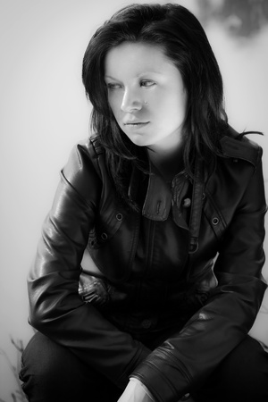 girl in park, black and white Stock Photo - 10129576