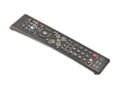 command button: Photo on TV remote control isolated on white