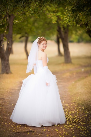 Portrait of the young beautiful bride on the nature photo