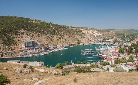 Bird-eye view of Balaklava bay with yachts and small ships, Crimea, Ukraine photo