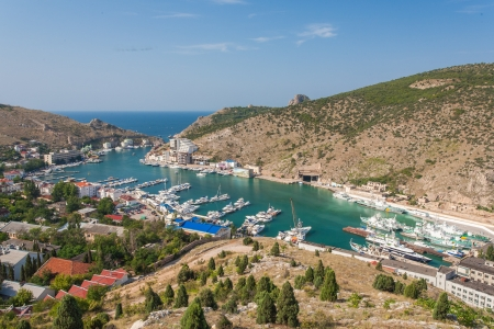 birdeye: Bird-eye view of Balaklava bay with yachts and small ships, Crimea, Ukraine
