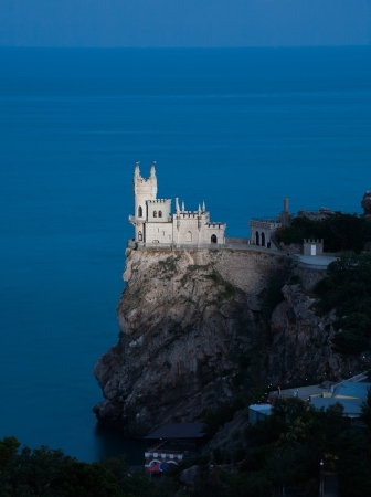 Nighttime photos of well-known castle Swallow's Nest near Yalta in Crimea, Ukraine