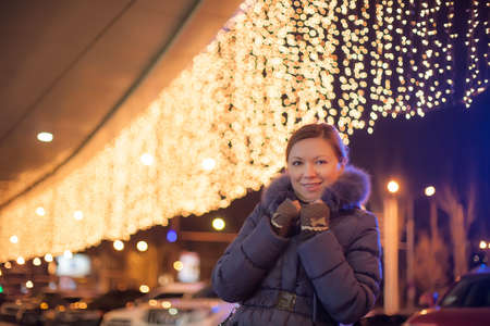 young pretty woman outdoor in christmas winter Stock Photo - 16732529