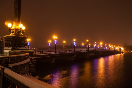 River promenade in a small german town on a winter Christmas night Stock Photo - 16945890
