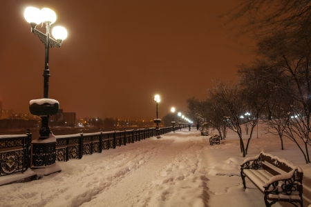River promenade in Donetsk city on a winter Christmas night  Ukraine photo