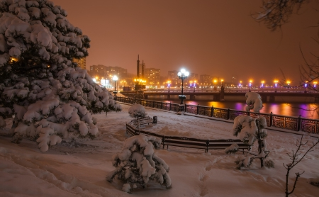 River promenade in Donetsk city on a winter Christmas night  Ukraine photo