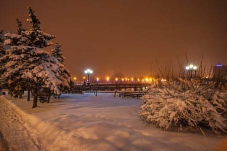 River promenade in Donetsk city on a winter Christmas night  Ukraine Stock Photo - 16945891