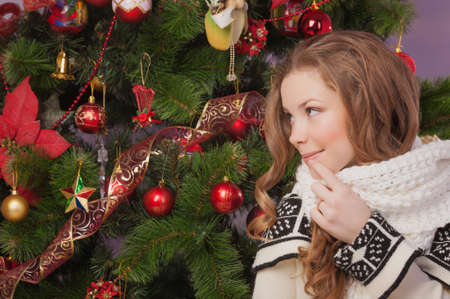 Beautiful woman hanging toy on Christmas tree Stock Photo - 17008833