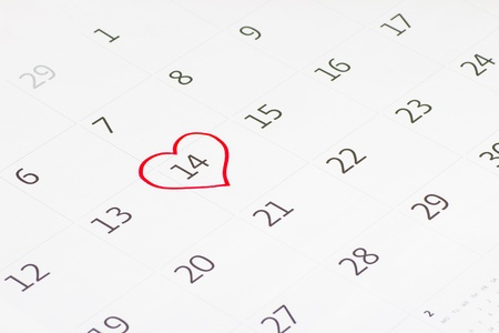 Calender page with a detail of the valentine day photo