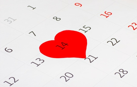 Calender page with a detail of the valentine day Stock Photo - 17794624