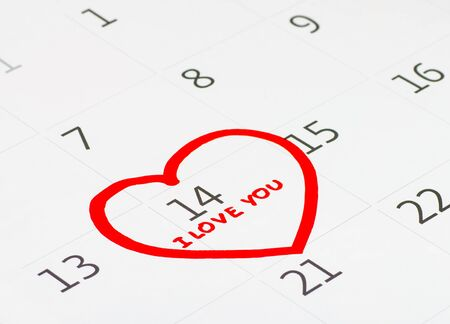 Calender page with a detail of the valentine day Stock Photo - 17794613