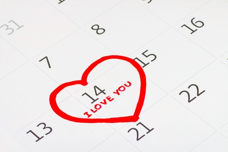 Calender page with a detail of the valentine day Stock Photo - 17794626