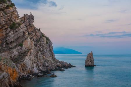 crimean: Crimean sanset landscape near Yalta on a Black Sea shore , Ukraine