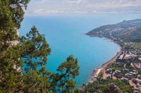 Blue bay near Simeiz town in Crimea, Ukraine photo
