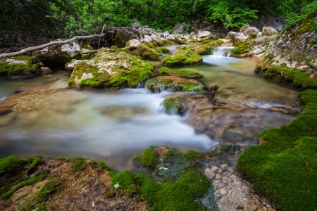 Mountain river. A stream of water in forest and mountain terrain. Crimea, the Grand Canyon. Stock Photo - 18009245