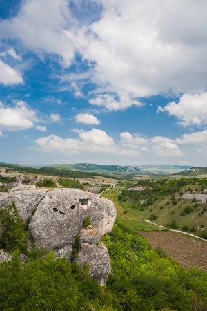 Mountains, sky and green fields in the Crimea, Ukraine Stock Photo