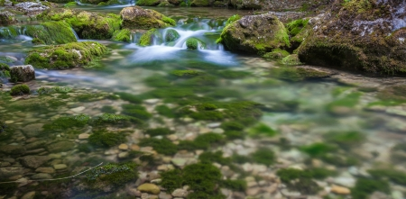 Mountain river. A stream of water in forest and mountain terrain. Crimea, the Grand Canyon. Stock Photo - 18009186