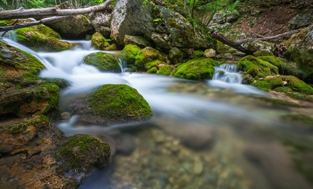 Mountain river. A stream of water in forest and mountain terrain. Crimea, the Grand Canyon. Stock Photo - 18009207
