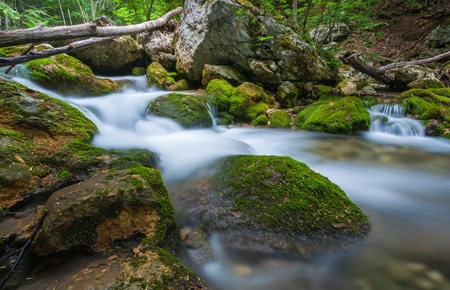 Mountain river. A stream of water in forest and mountain terrain. Crimea, the Grand Canyon. photo