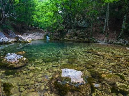 Mountain river with nice waterfall, Crimea, Ukraine Stock Photo - 18009246