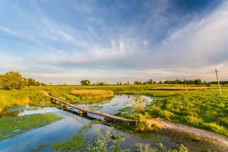 summer landscape with river and blue sky 版權商用圖片 - 18164706