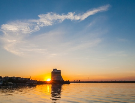 dnepr: View from Dnepr river on Dnepropetrovsk city, Ukraine. Stock Photo