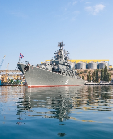 SEVASTOPOL, UKRAINE - AUGUST 13, 2011 - The military ship in the naval bay of Sevastopol on 13 of August, 2011.