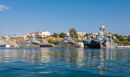 SEVASTOPOL, UKRAINE - AUGUST 13, 2011 - The military ship in the naval bay of Sevastopol on 13 of August, 2011. photo