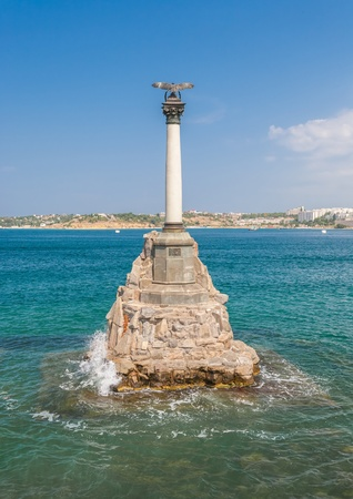 obstruct: Monument to scuttled Russian ships to obstruct entrance to Sevastopol bay. One of symbols of Sevastopol.Crimea,Ukraine