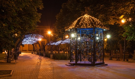 Night decorated alley in Donetsk city park Stock Photo - 19990468