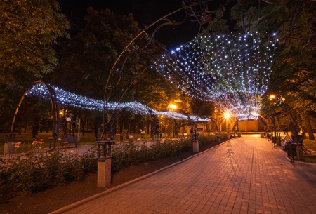 Night decorated alley in Donetsk city park photo