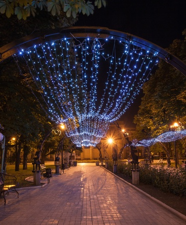 Night decorated alley in Donetsk city park