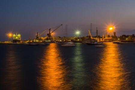 ship and port at night photo