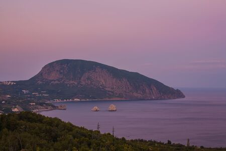 Gurzuf and Ayu Dag mountain in the night. Crimea. Ukraine photo
