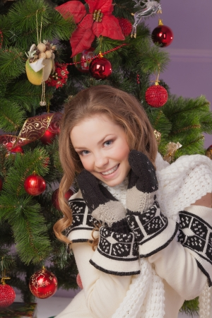 Beautiful girl hanging toy on Christmas tree Stock Photo - 23667174