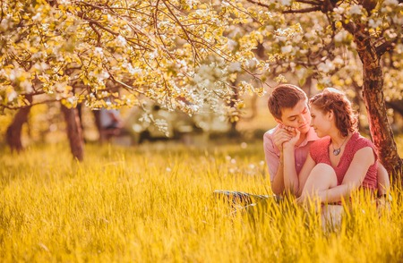 Portrait of young couple in flowering park photo