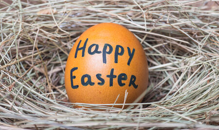 brown eggs with happy easter words at hay nest in chicken farm photo