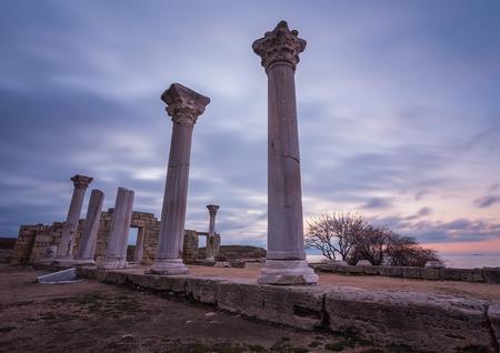 Ruins of ancient greek colony Khersones. Sunset, Sevastopol,Crimea