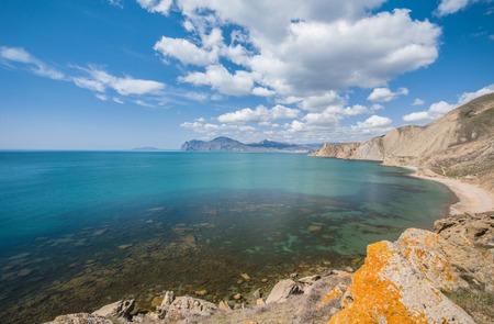 view of the Kara Dag Mountain on the coast of Crimea photo