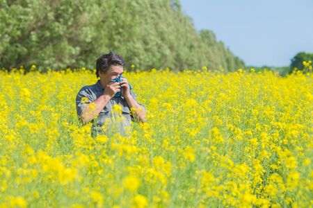 hayfever: man in field