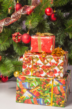 Christmas tree branch with a gift photo