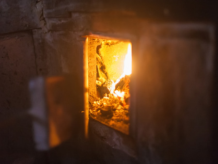 torridity: crest of flame on burning wood Stock Photo
