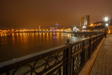 River promenade in Donetsk city on a winter. photo