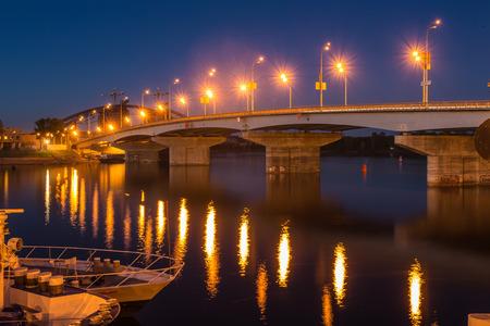 industry moody: Havana bridge in Kiev at night. Ukraine. Stock Photo