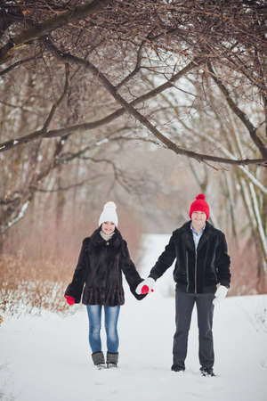 couple winter: Young  happy smiling couple in love. Winter Stock Photo