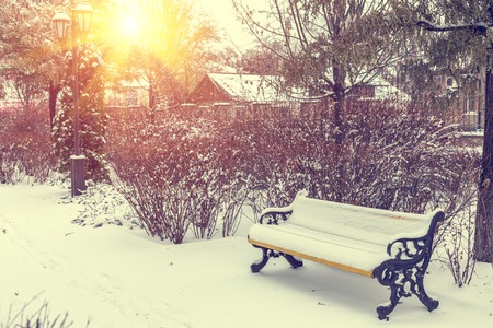 winter park: Benches in the winter city park which has been filled up with snow. Vintage color